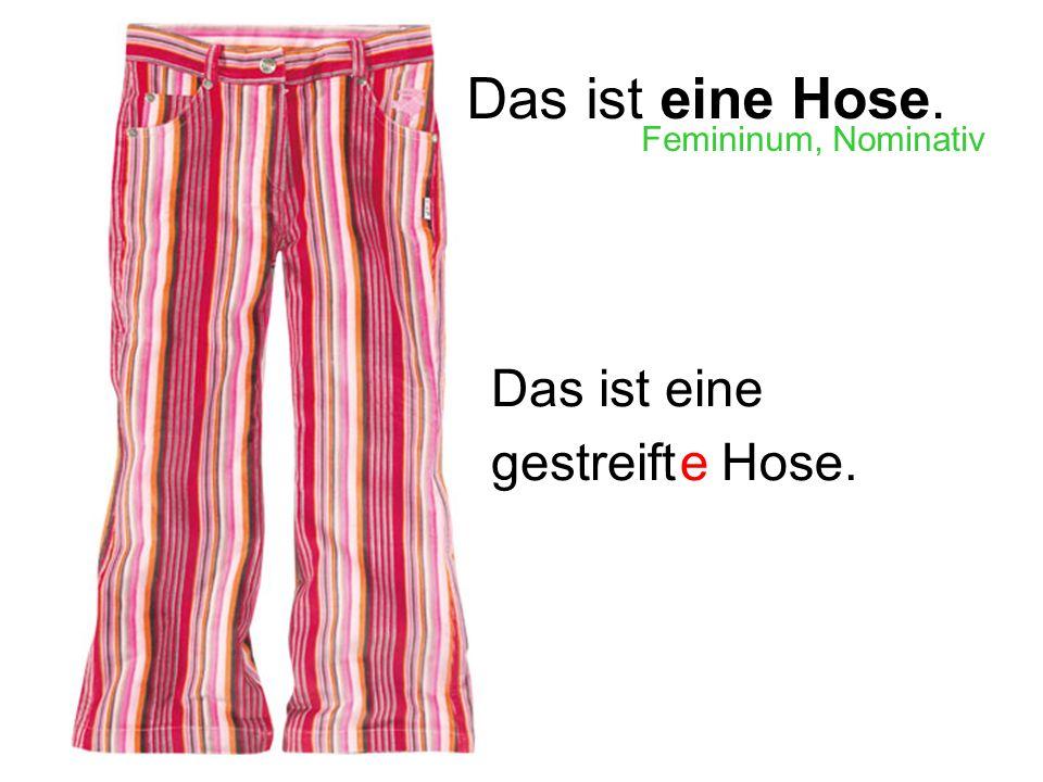 Das ist eine Hose. Das ist eine egestreiftHose. Femininum, Nominativ