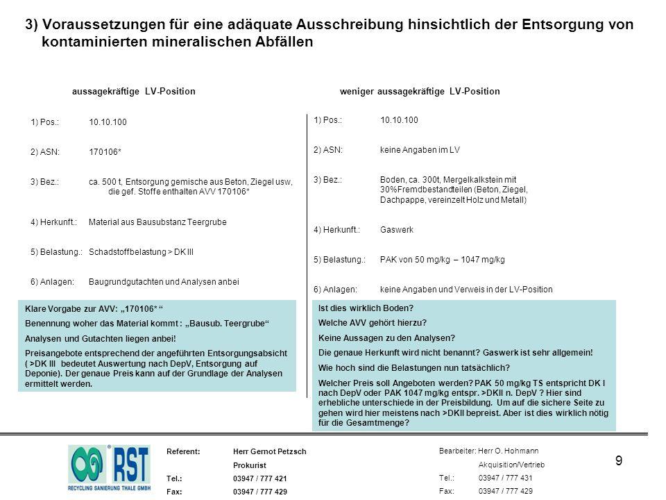 Referent: Herr Gernot Petzsch Prokurist Tel.:03947 / 777 421 Fax:03947 / 777 429 Bearbeiter: Herr O. Hohmann Akquisition/Vertrieb Tel.: 03947 / 777 43