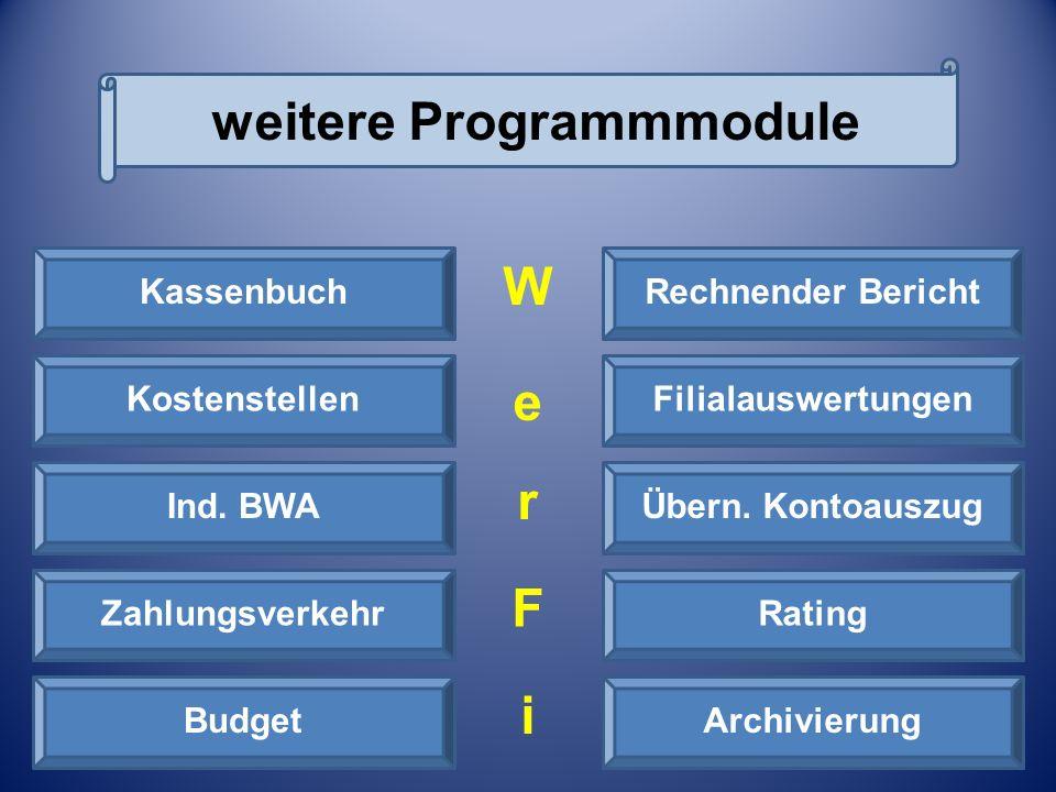weitere Programmmodule Erweiterbare Module Kassenbuch Budget Rating Übern. Kontoauszug Filialauswertungen Rechnender Bericht Kostenstellen Zahlungsver