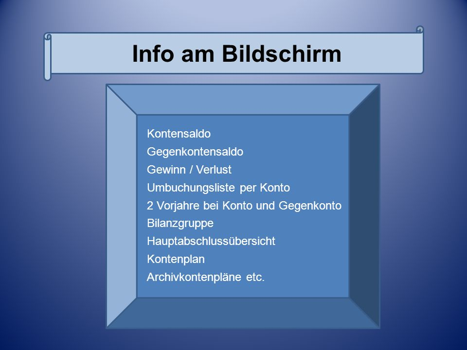 Info am Bildschirm Kontensaldo Gegenkontensaldo Gewinn / Verlust Umbuchungsliste per Konto 2 Vorjahre bei Konto und Gegenkonto Bilanzgruppe Hauptabsch