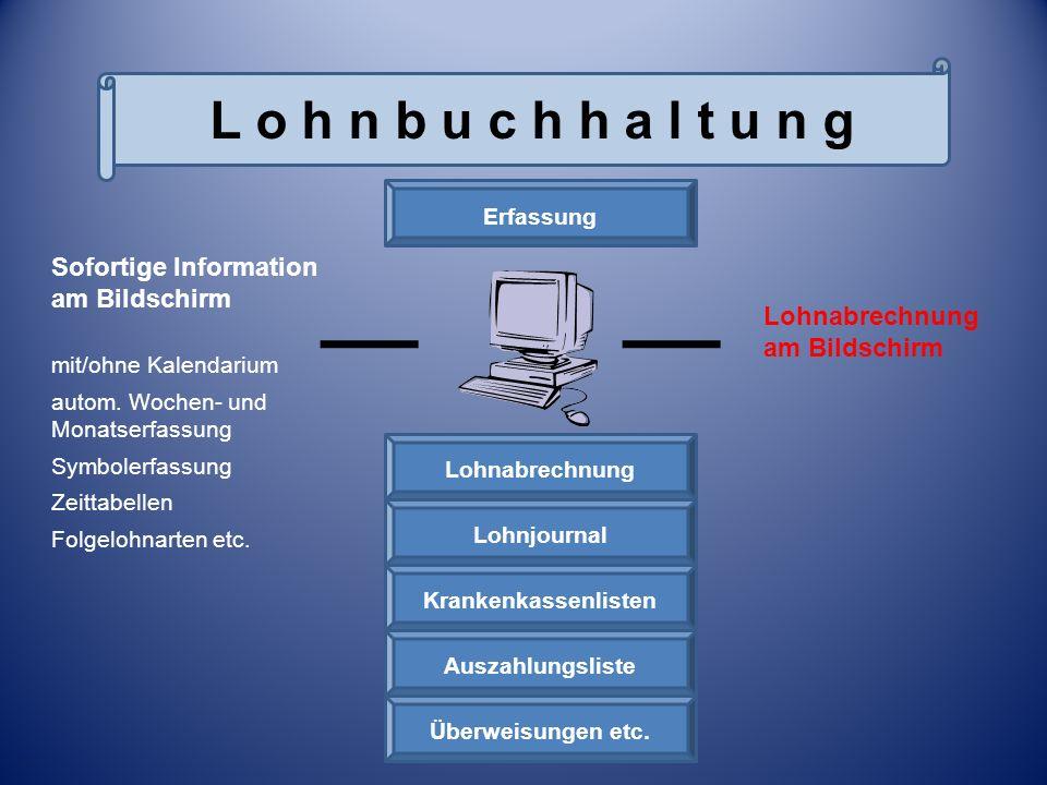 Erfassung Überweisungen etc. Auszahlungsliste Krankenkassenlisten Lohnjournal Lohnabrechnung Lohnabrechnung am Bildschirm Sofortige Information am Bil
