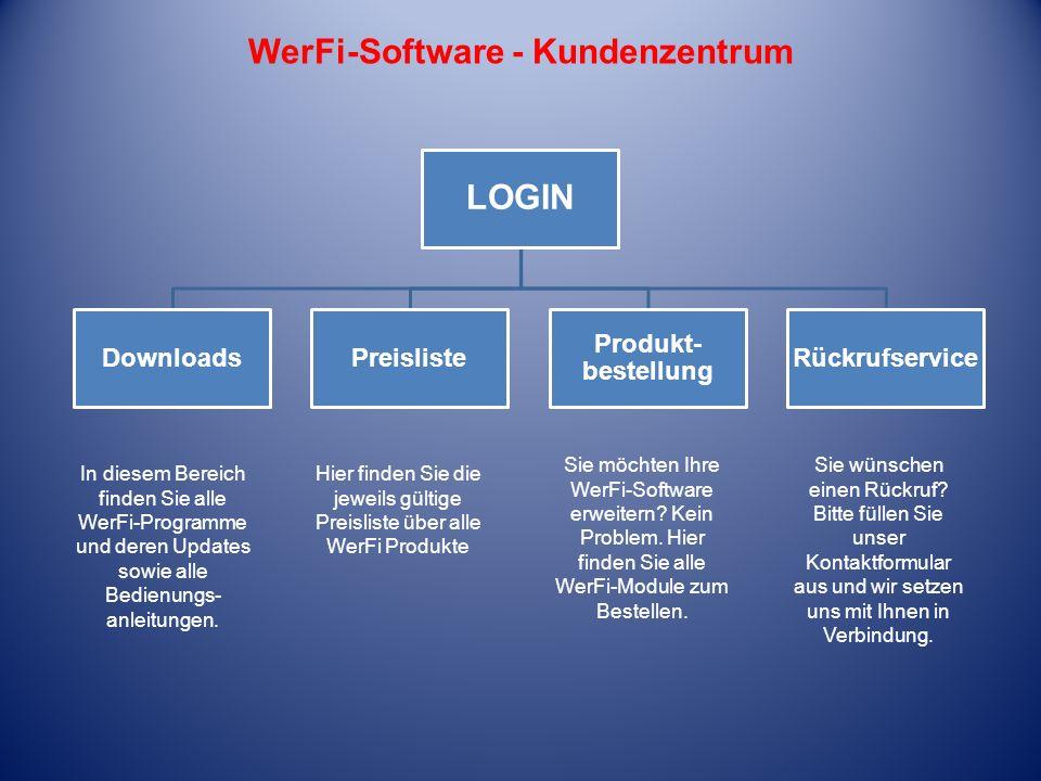 LOGIN DownloadsPreisliste Produkt- bestellung Rückrufservice WerFi-Software - Kundenzentrum In diesem Bereich finden Sie alle WerFi-Programme und dere