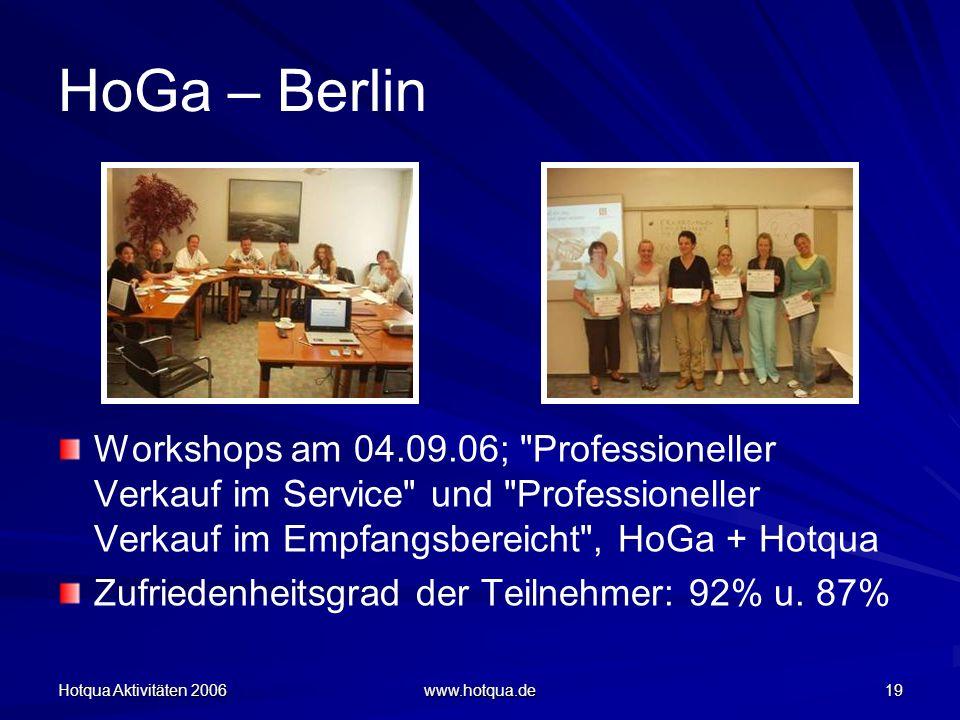Hotqua Aktivitäten 2006 www.hotqua.de 19 HoGa – Berlin Workshops am 04.09.06; Professioneller Verkauf im Service und Professioneller Verkauf im Empfangsbereicht , HoGa + Hotqua Zufriedenheitsgrad der Teilnehmer: 92% u.