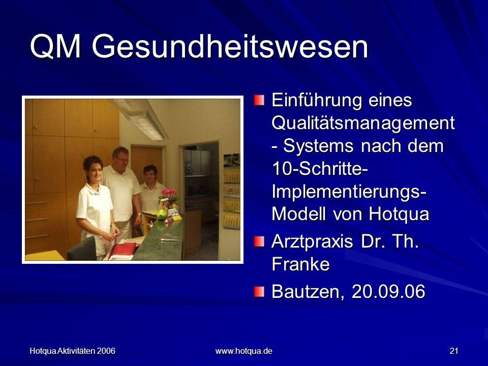 Hotqua Aktivitäten 2006 www.hotqua.de 21 QM Gesundheitswesen Einführung eines Qualitätsmanagement - Systems nach dem 10-Schritte- Implementierungs- Modell von Hotqua Arztpraxis Dr.