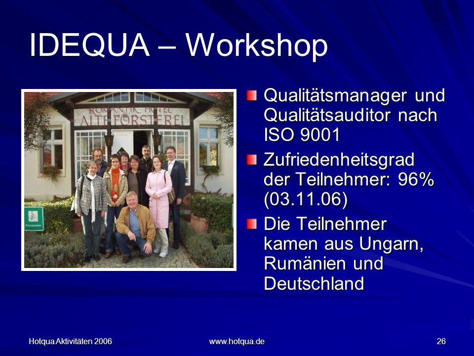 Hotqua Aktivitäten 2006 www.hotqua.de 26 IDEQUA – Workshop Qualitätsmanager und Qualitätsauditor nach ISO 9001 Zufriedenheitsgrad der Teilnehmer: 96% (03.11.06) Die Teilnehmer kamen aus Ungarn, Rumänien und Deutschland