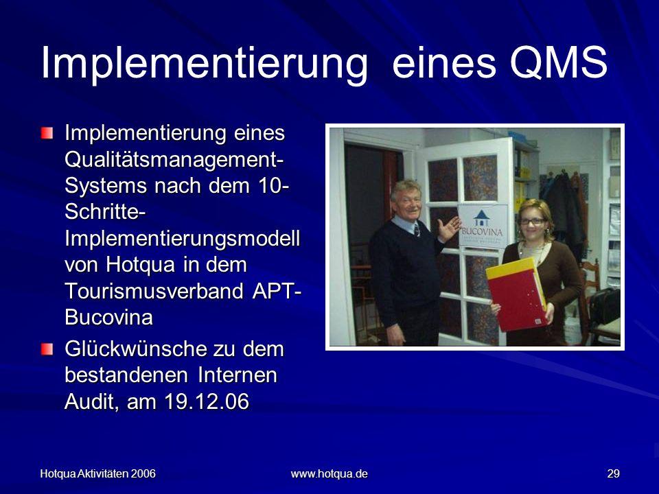 Hotqua Aktivitäten 2006 www.hotqua.de 29 Implementierung eines QMS Implementierung eines Qualitätsmanagement- Systems nach dem 10- Schritte- Implementierungsmodell von Hotqua in dem Tourismusverband APT- Bucovina Glückwünsche zu dem bestandenen Internen Audit, am 19.12.06