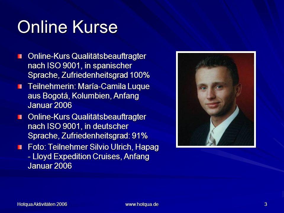 Hotqua Aktivitäten 2006 www.hotqua.de 24 Qualitätsmanagement Qualitätsmanagement Workshop und Vorbereitung auf das Audit in der RA-Kanzlei W & F, in Frankfurt / Oder Zufriedenheitsgrad der WS-Teilnehmer, 99%, gemessen am 12.10.06