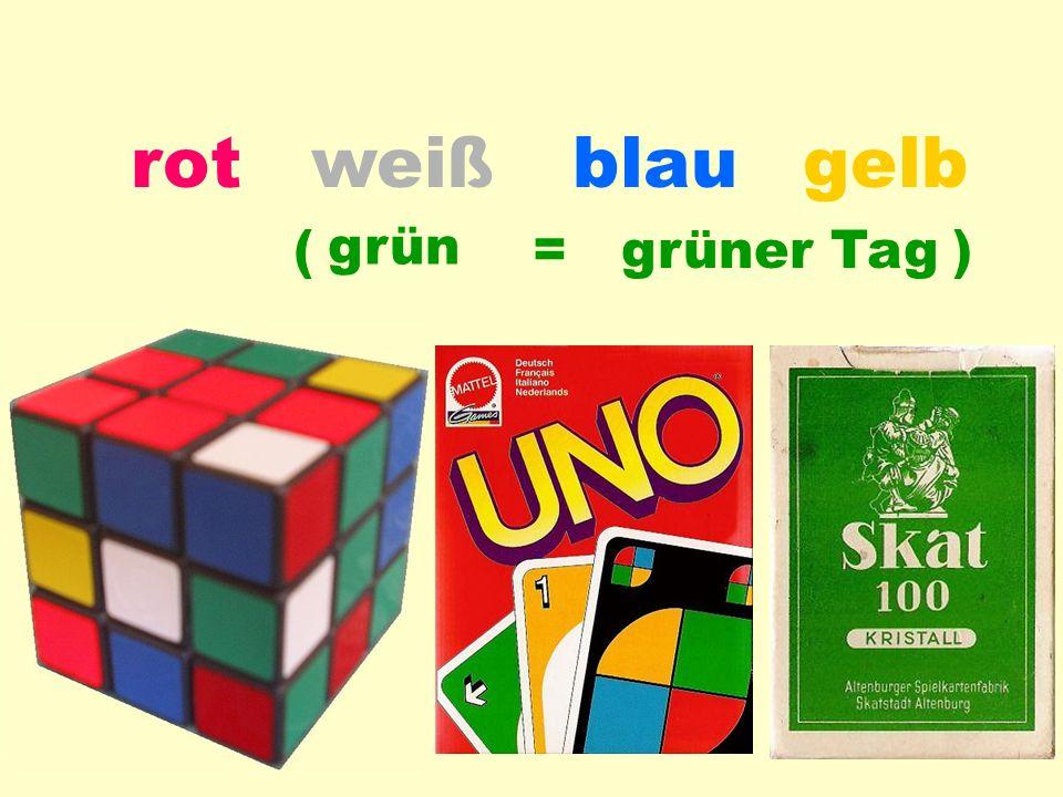 blauweißrotgelb Farb-Anwendung grün = grüner Tag( )