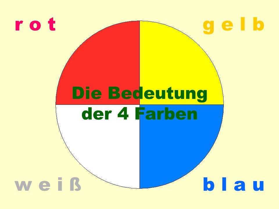 Farb-Bedeutung 4 r o t w e i ßb l a u g e l b Die Bedeutung der 4 Farben