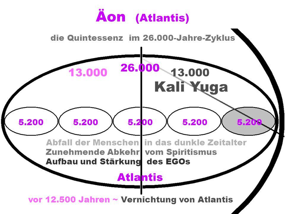 Äon (Atlantis) die Quintessenzim 26.000-Jahre-Zyklus 13.000 Kali Yuga 5.200 vor 12.500 Jahren ~ Vernichtung von Atlantis 26.000 5.200 Atlantis Abfall der Menschen in das dunkle Zeitalter Zunehmende Abkehr vom Spiritismus Aufbau und Stärkung des EGOs