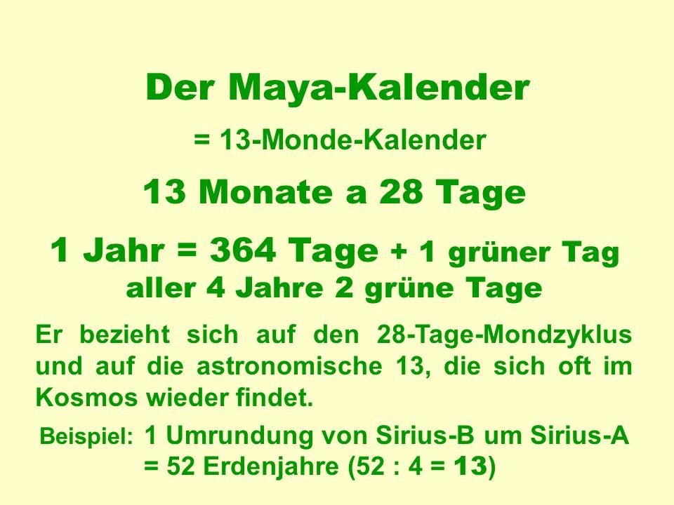 Der Maya-Kalender = 13-Monde-Kalender 13 Monate a 28 Tage Er bezieht sich auf den 28-Tage-Mondzyklus und auf die astronomische 13, die sich oft im Kosmos wieder findet.