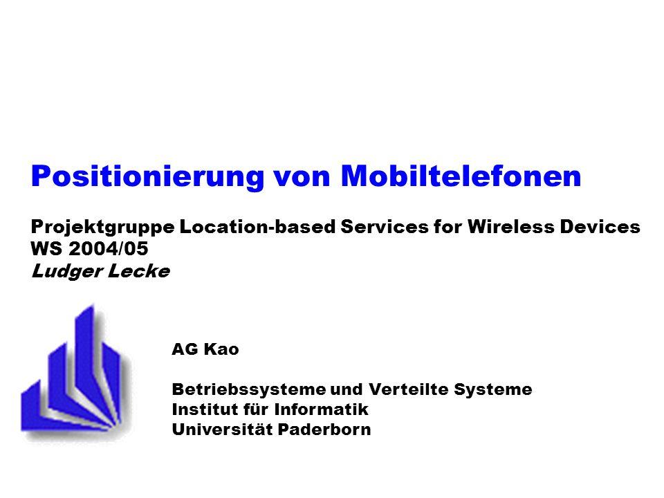 PG LBS: Positionierung von Mobiltelefonen 12 23.11.2004 Time of Arrival Vorgehensweise: Messung der Zeit, die das Signal benötigt, um von der BTS zur MS zu gelangen Berechnung der zurückgelegten Strecke/ des Abstandes mittels Signalausbreitungs- geschwindigkeit