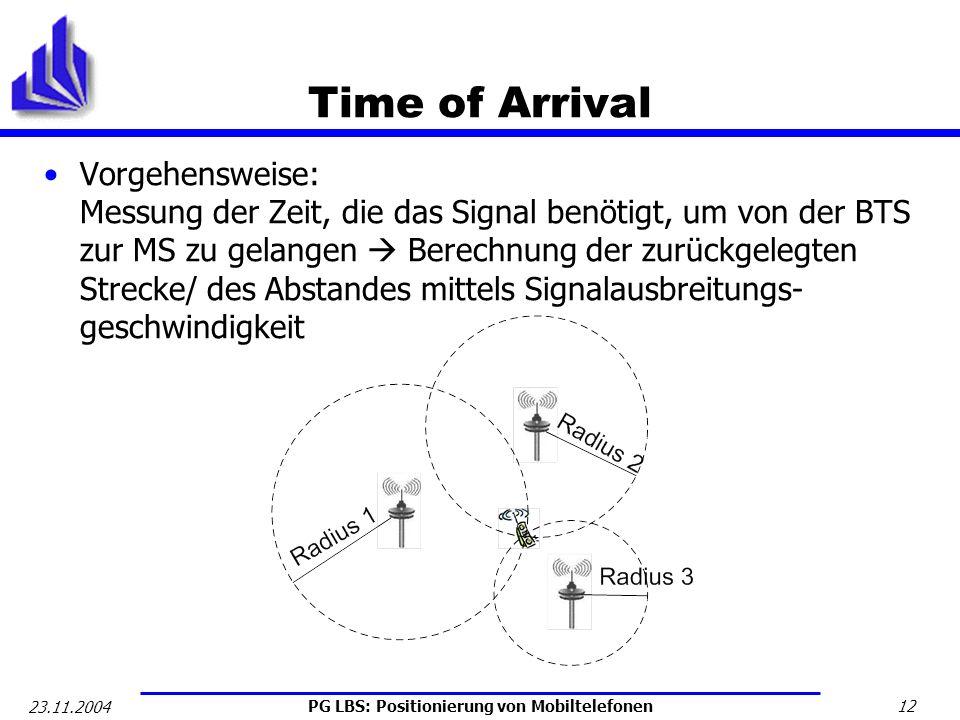 PG LBS: Positionierung von Mobiltelefonen 12 23.11.2004 Time of Arrival Vorgehensweise: Messung der Zeit, die das Signal benötigt, um von der BTS zur