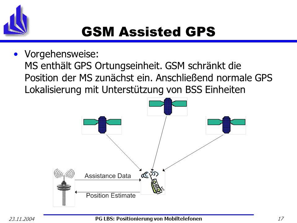 PG LBS: Positionierung von Mobiltelefonen 17 23.11.2004 GSM Assisted GPS Vorgehensweise: MS enthält GPS Ortungseinheit. GSM schränkt die Position der