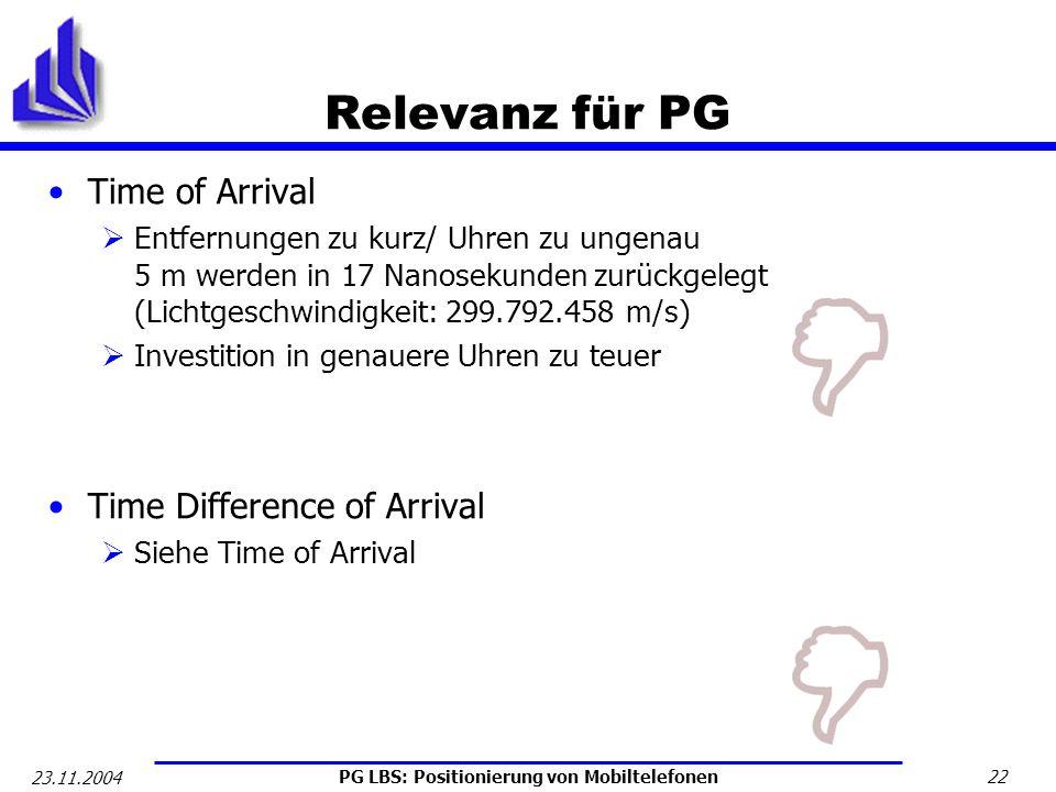 PG LBS: Positionierung von Mobiltelefonen 22 23.11.2004 Relevanz für PG Time of Arrival Entfernungen zu kurz/ Uhren zu ungenau 5 m werden in 17 Nanose