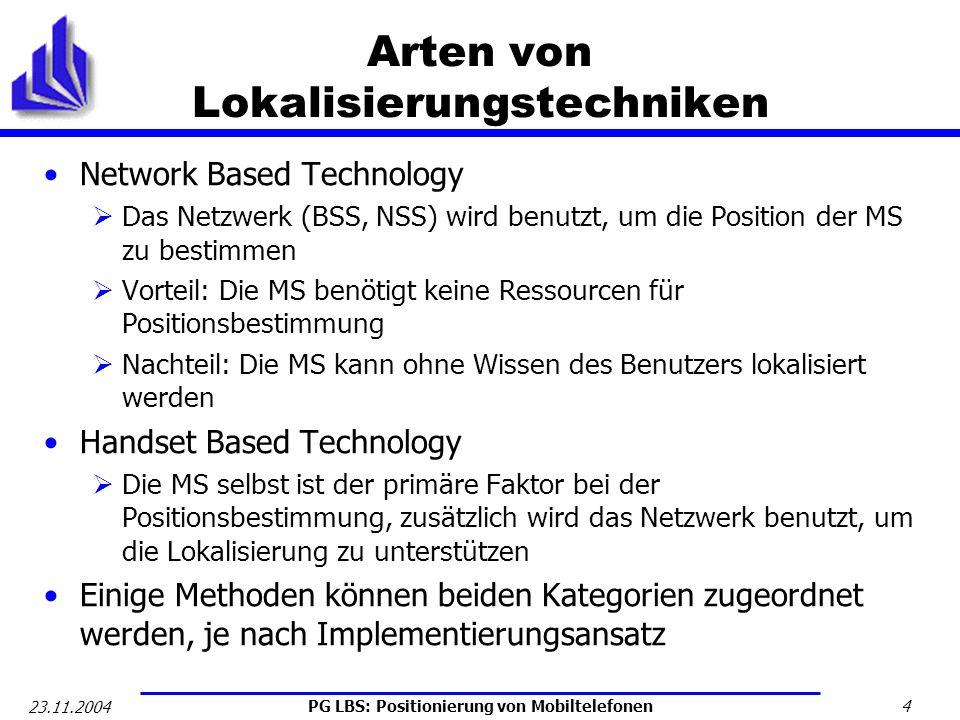 PG LBS: Positionierung von Mobiltelefonen 4 23.11.2004 Arten von Lokalisierungstechniken Network Based Technology Das Netzwerk (BSS, NSS) wird benutzt