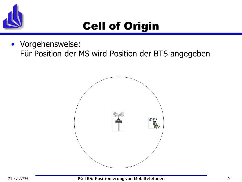 PG LBS: Positionierung von Mobiltelefonen 6 23.11.2004 Cell of Origin Messdauer: Schnellste Positionsangabe (2s bis 5s Ø 2,5s) [Jagoe] Genauigkeit nach [LYU0301]: städtischer Bereich: 500m – 5km Ø 2km ländlicher Bereich: 1km – 35 km Ø 15 km Vorteile: Benötigt eine BTS Einfachste Möglichkeit Keine Erweiterungen der bestehenden Hardware nötig Nachteile: Ungenaueste Positionierungstechnik Angegebene BTS muss nicht am nächsten gelegene BTS sein