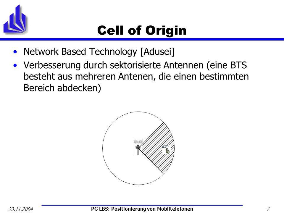 PG LBS: Positionierung von Mobiltelefonen 8 23.11.2004 Received Signal Strength Vorgehensweise: Signalstärken der BTS in Reichweite werden gemessen und daraus die Position – unter Einbeziehung bekannter Signalstärken für Referenzpunkte – errechnet Optimierungsproblem [Hellebrandt] minimize über z A