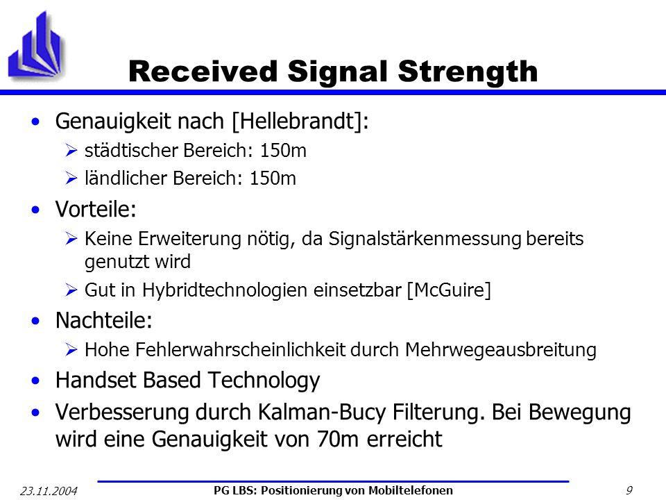 PG LBS: Positionierung von Mobiltelefonen 9 23.11.2004 Received Signal Strength Genauigkeit nach [Hellebrandt]: städtischer Bereich: 150m ländlicher B