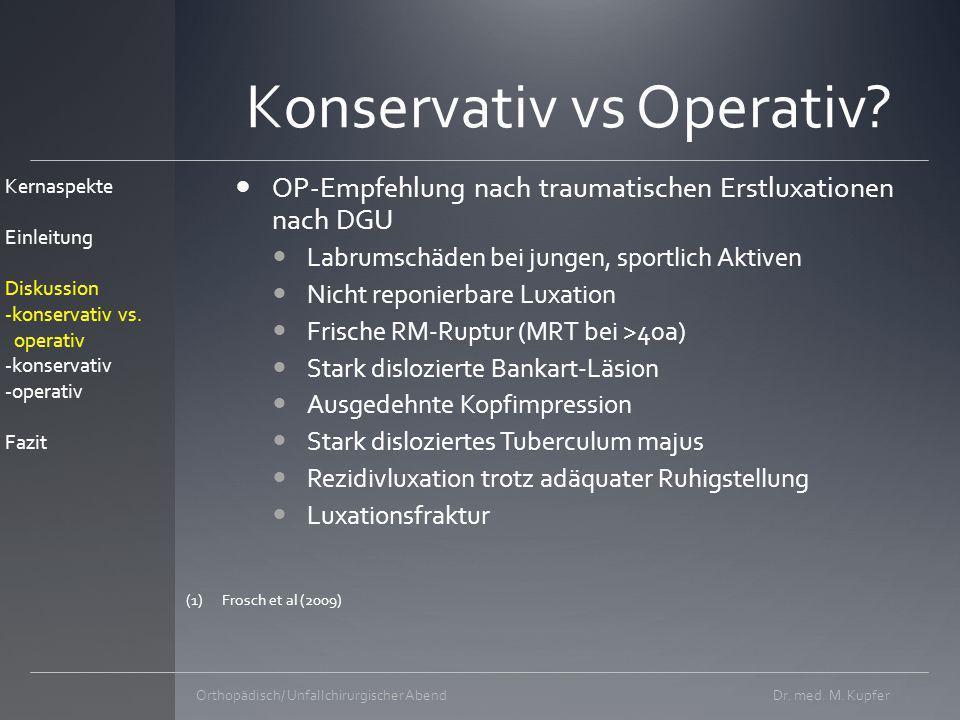 Dr.med. M. KupferOrthopädisch/ Unfallchirurgischer Abend Konservativ vs Operativ.