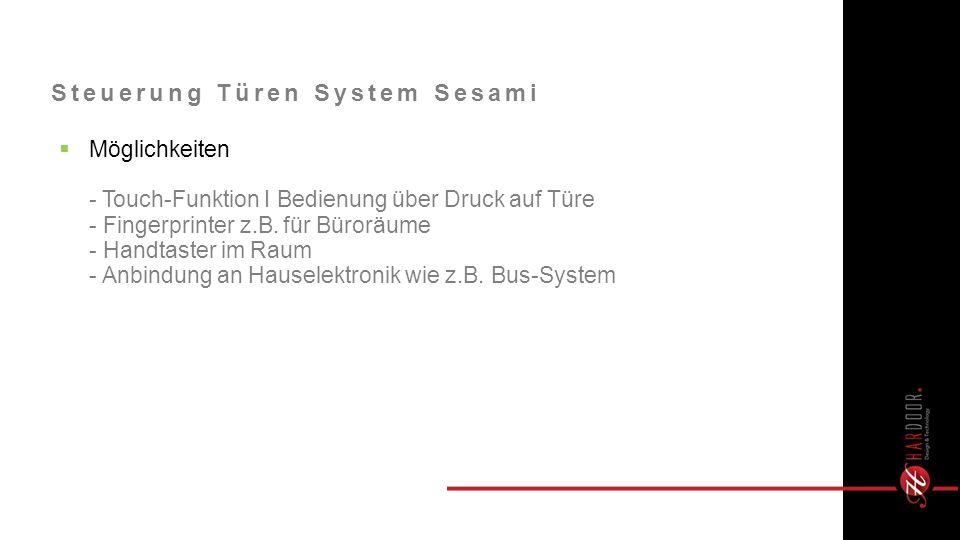 Möglichkeiten - Touch-Funktion I Bedienung über Druck auf Türe - Fingerprinter z.B.