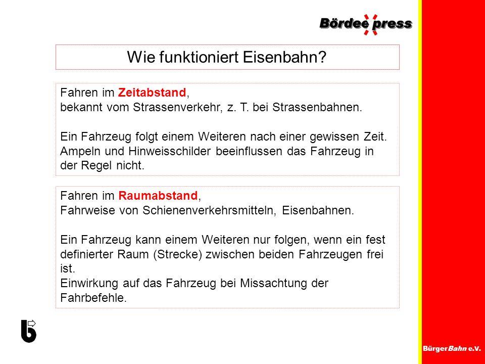 BürgerBahn e.V. Wie funktioniert Eisenbahn? Fahren im Zeitabstand, bekannt vom Strassenverkehr, z. T. bei Strassenbahnen. Ein Fahrzeug folgt einem Wei