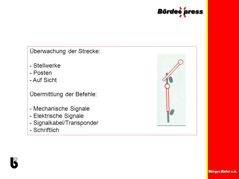 BürgerBahn e.V. Überwachung der Strecke: - Stellwerke - Posten - Auf Sicht Übermittlung der Befehle: - Mechanische Signale - Elektrische Signale - Sig