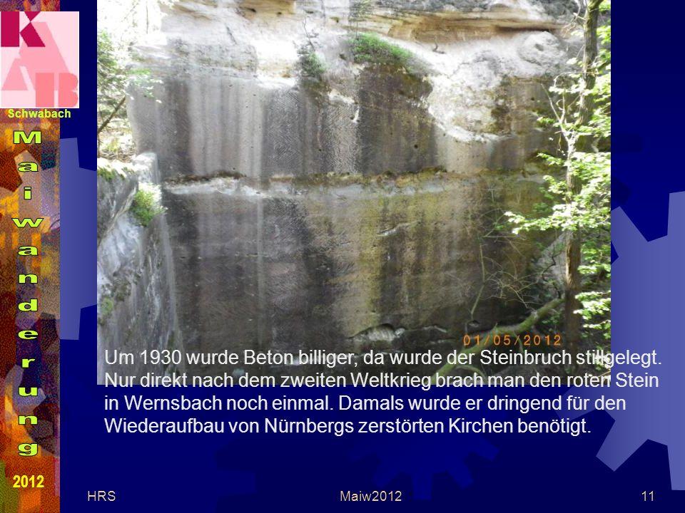 Schwabach 2012 HRSMaiw201211 Um 1930 wurde Beton billiger, da wurde der Steinbruch stillgelegt.
