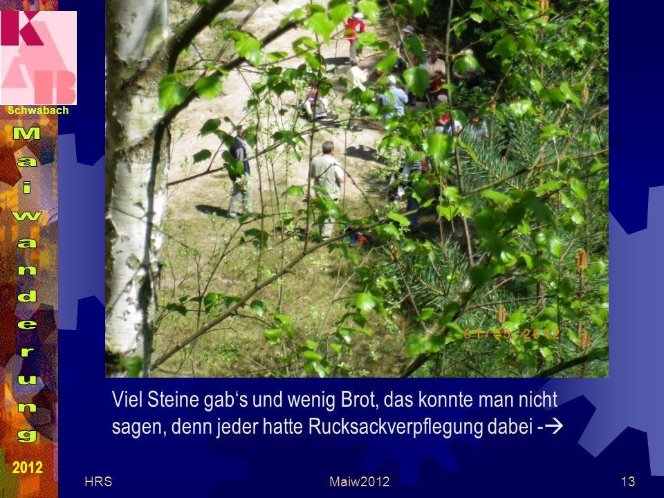 Schwabach 2012 HRSMaiw201213 Viel Steine gabs und wenig Brot, das konnte man nicht sagen, denn jeder hatte Rucksackverpflegung dabei -