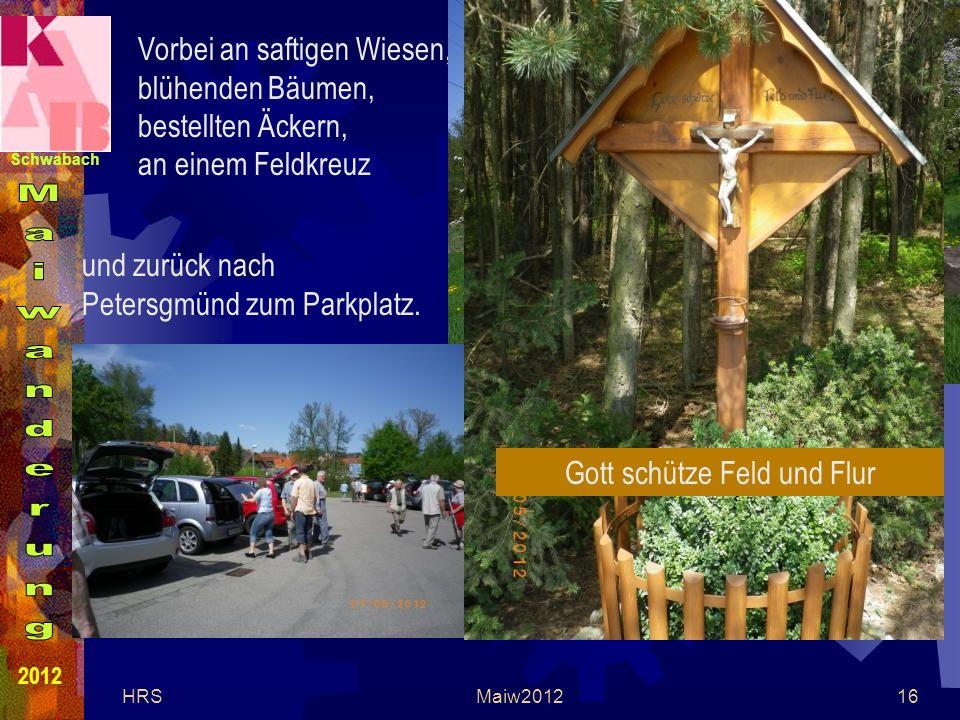 Schwabach 2012 HRSMaiw201216 Vorbei an saftigen Wiesen, blühenden Bäumen, bestellten Äckern, an einem Feldkreuz Gott schütze Feld und Flur und zurück nach Petersgmünd zum Parkplatz.