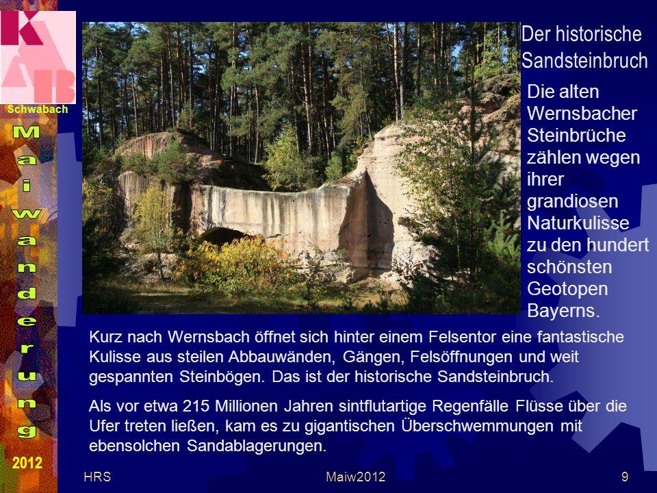 Schwabach 2012 HRSMaiw20129 Kurz nach Wernsbach öffnet sich hinter einem Felsentor eine fantastische Kulisse aus steilen Abbauwänden, Gängen, Felsöffnungen und weit gespannten Steinbögen.