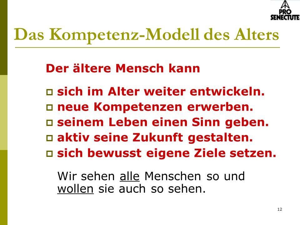 12 Das Kompetenz-Modell des Alters Der ältere Mensch kann sich im Alter weiter entwickeln. neue Kompetenzen erwerben. seinem Leben einen Sinn geben. a