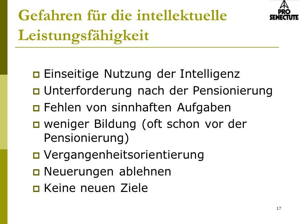 17 Gefahren für die intellektuelle Leistungsfähigkeit Einseitige Nutzung der Intelligenz Unterforderung nach der Pensionierung Fehlen von sinnhaften A