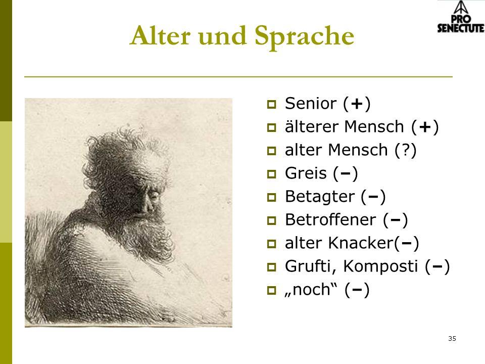 35 Alter und Sprache Senior (+) älterer Mensch (+) alter Mensch (?) Greis (–) Betagter (–) Betroffener (–) alter Knacker(–) Grufti, Komposti (–) noch