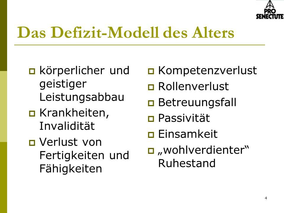 4 Das Defizit-Modell des Alters körperlicher und geistiger Leistungsabbau Krankheiten, Invalidität Verlust von Fertigkeiten und Fähigkeiten Kompetenzv