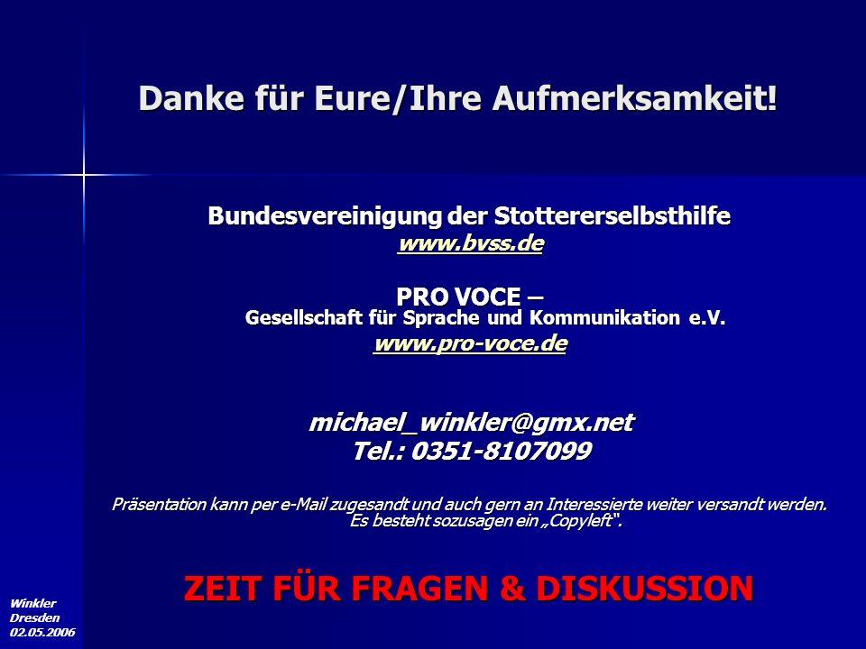 Winkler Dresden 02.05.2006 Bundesvereinigung der Stottererselbsthilfe www.bvss.de PRO VOCE – Gesellschaft für Sprache und Kommunikation e.V. www.pro-v