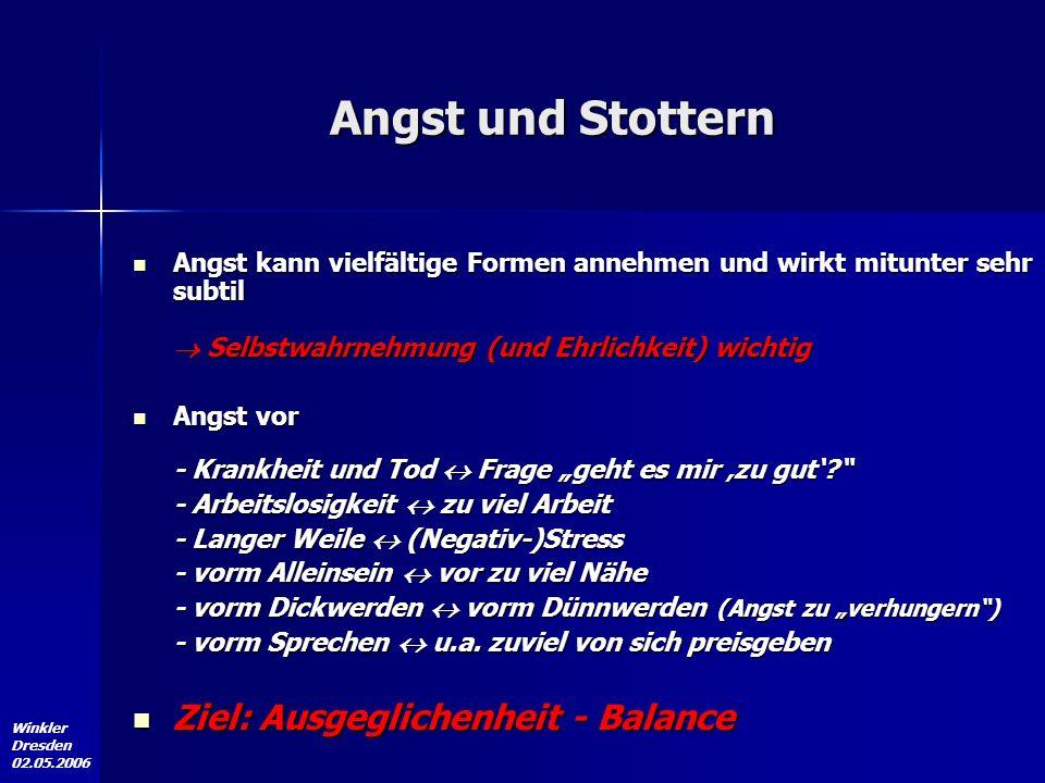 Winkler Dresden 02.05.2006 Die Gesellschaft und Ich (der/die Stotternde) Stotternder/ Stotterer/ stotternder Mensch Gesellschaft Positive Bewusstseinsänderung Therapie, SHG etc.