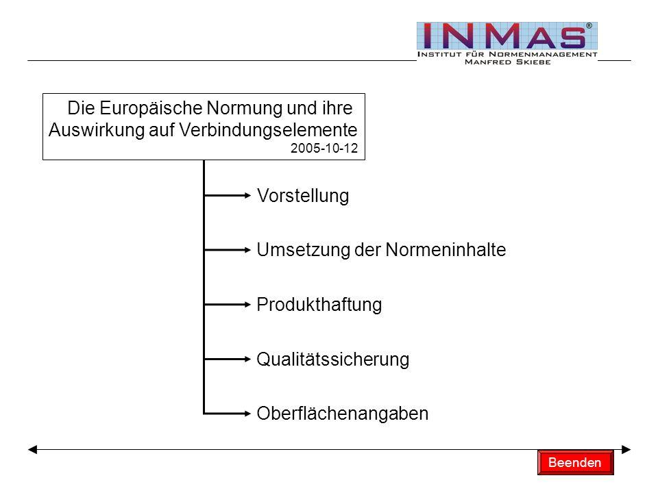 Titelfolie Die Europäische Normung und ihre Auswirkung auf Verbindungselemente 2005-10-12 Vorstellung Umsetzung der Normeninhalte Produkthaftung Qualitätssicherung Oberflächenangaben Beenden