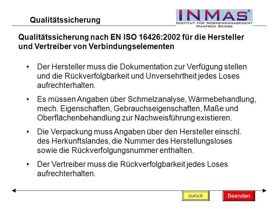 Qualitätssicherung nach EN ISO 16426:2002 für die Hersteller und Vertreiber von Verbindungselementen zurück Der Hersteller muss die Dokumentation zur Verfügung stellen und die Rückverfolgbarkeit und Unversehrtheit jedes Loses aufrechterhalten.