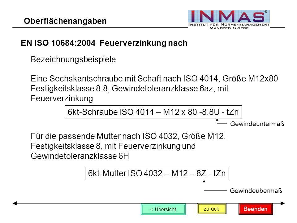 EN ISO 10684:2004 Feuerverzinkung nach zurück < Übersicht Oberflächenangaben Bezeichnungsbeispiele Eine Sechskantschraube mit Schaft nach ISO 4014, Größe M12x80 Festigkeitsklasse 8.8, Gewindetoleranzklasse 6az, mit Feuerverzinkung 6kt-Schraube ISO 4014 – M12 x 80 -8.8U - tZn Für die passende Mutter nach ISO 4032, Größe M12, Festigkeitsklasse 8, mit Feuerverzinkung und Gewindetoleranzklasse 6H 6kt-Mutter ISO 4032 – M12 – 8Z - tZn Beenden Gewindeuntermaß Gewindeübermaß