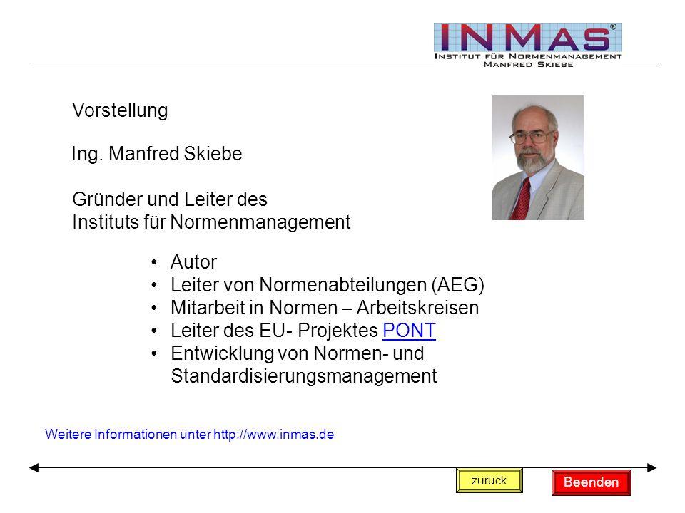 Vorstellung Ing. Manfred Skiebe Gründer und Leiter des Instituts für Normenmanagement Autor Leiter von Normenabteilungen (AEG) Mitarbeit in Normen – A