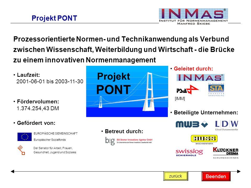 Prozessorientierte Normen- und Technikanwendung als Verbund zwischen Wissenschaft, Weiterbildung und Wirtschaft - die Brücke zu einem innovativen Norm
