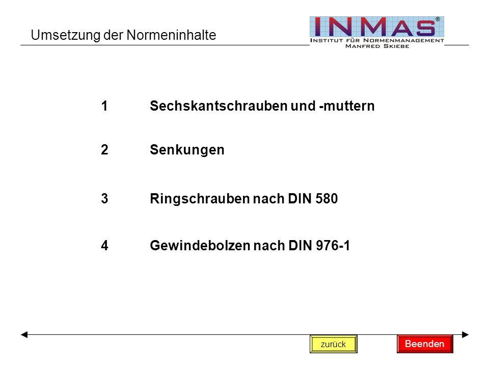 1Sechskantschrauben und -muttern 2Senkungen 3Ringschrauben nach DIN 580 4Gewindebolzen nach DIN 976-1 zurück Umsetzung der Normeninhalte Beenden
