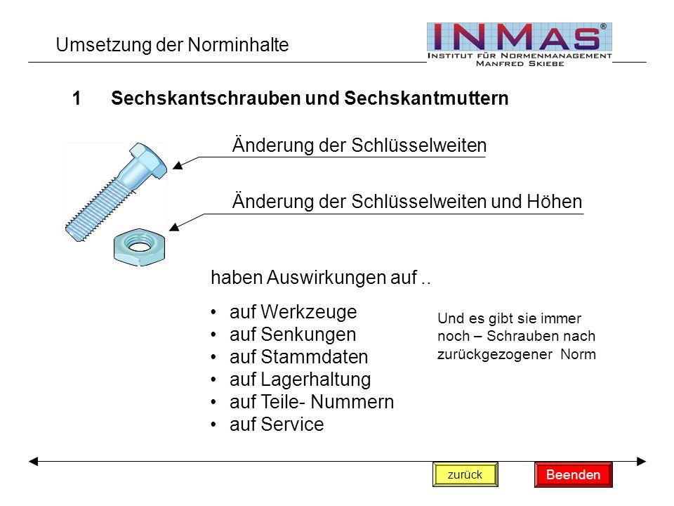 Umsetzung der Norminhalte 1Sechskantschrauben und Sechskantmuttern Änderung der Schlüsselweiten Änderung der Schlüsselweiten und Höhen haben Auswirkungen auf..