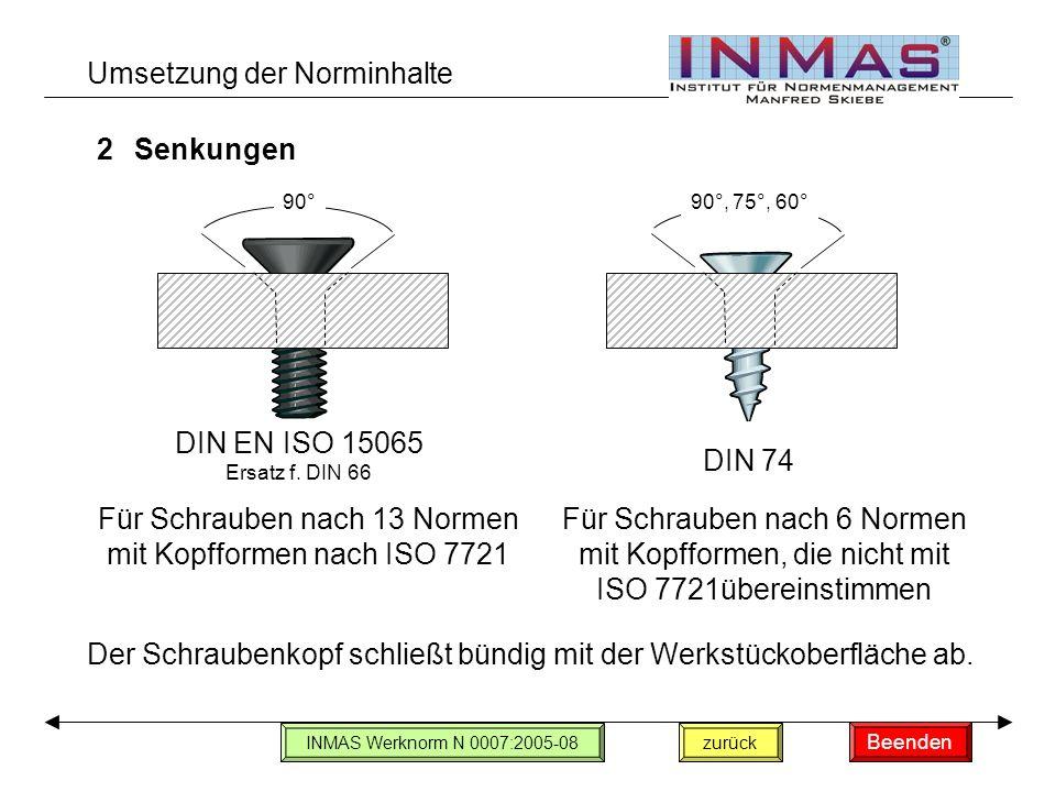 Umsetzung der Norminhalte 2Senkungen Für Schrauben nach 13 Normen mit Kopfformen nach ISO 7721 Der Schraubenkopf schließt bündig mit der Werkstückoberfläche ab.