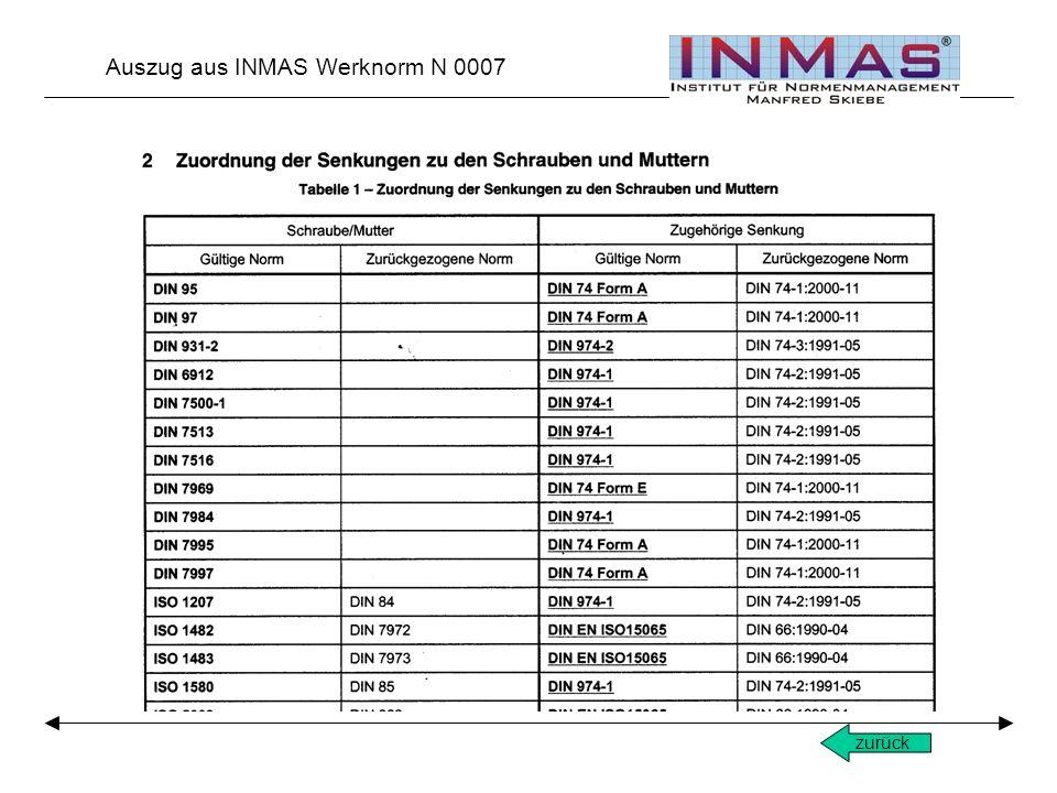 zurück Auszug aus INMAS Werknorm N 0007