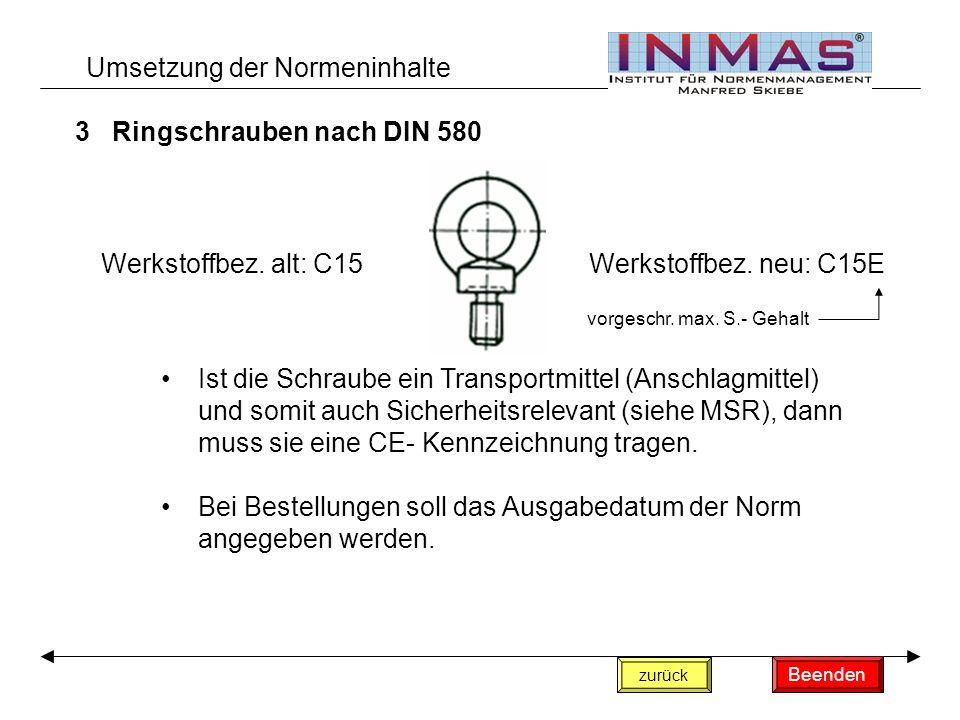 3Ringschrauben nach DIN 580 Umsetzung der Normeninhalte Ist die Schraube ein Transportmittel (Anschlagmittel) und somit auch Sicherheitsrelevant (siehe MSR), dann muss sie eine CE- Kennzeichnung tragen.