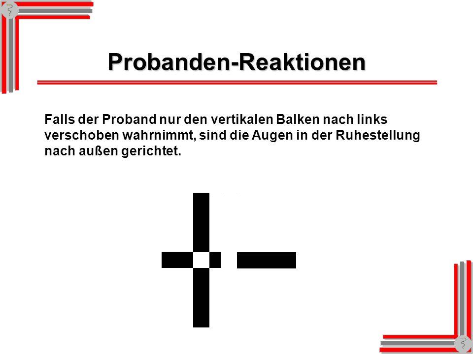 Probanden-Reaktionen Falls der Proband nur den vertikalen Balken, nicht aber den horizontalen Balken wahrnimmt, wird sein linkes Auge unterdrückt. Er