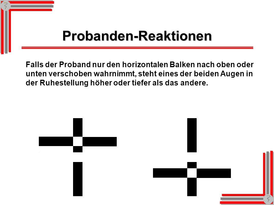 Probanden-Reaktionen Falls der Proband nur den vertikalen Balken nach rechts verschoben wahrnimmt, sind die Augen in der Ruhestellung nach innen geric
