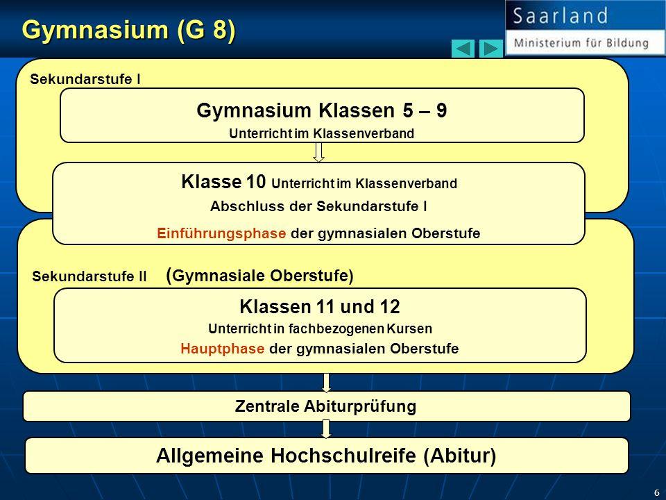 6 Sekundarstufe I Sekundarstufe II ( Gymnasiale Oberstufe) Gymnasium (G 8) Gymnasium (G 8) Gymnasium Klassen 5 – 9 Unterricht im Klassenverband Klasse